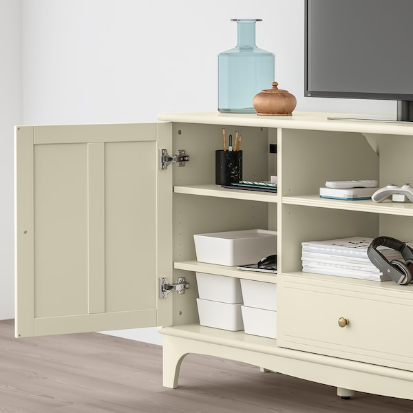 LOMMARP TV bench, light beige, 159x45x81 cm