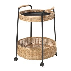 LUBBAN trolley table with storage, rattan, anthracite