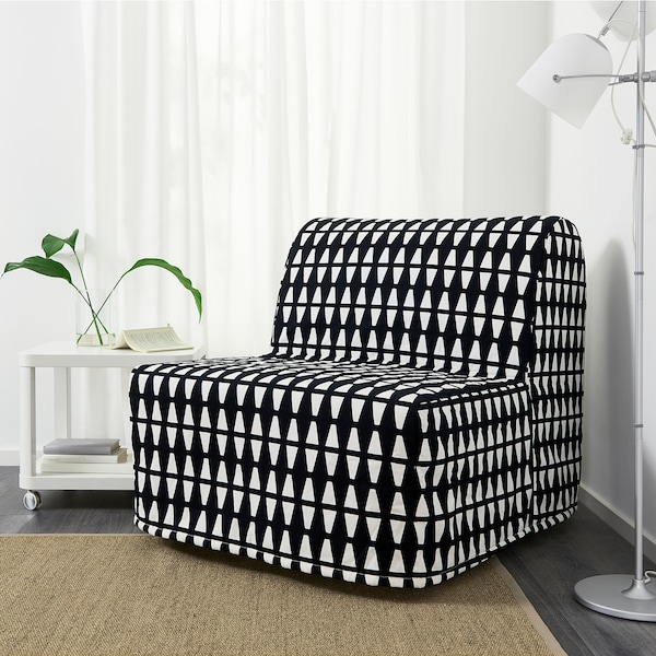 LYCKSELE LÖVÅS Chair-bed, Ebbarp black/white