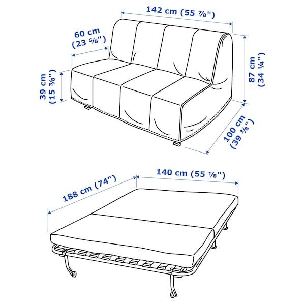 LYCKSELE LÖVÅS two-seat sofa-bed Vallarum turquoise 142 cm 100 cm 87 cm 60 cm 39 cm 140 cm 188 cm 188 cm 140 cm 10 cm