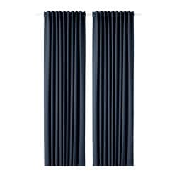 MAJGULL block-out curtains, 1 pair, dark blue