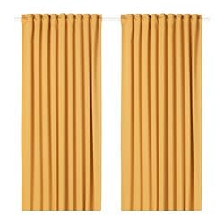 MAJGULL room darkening curtains, 1 pair, yellow