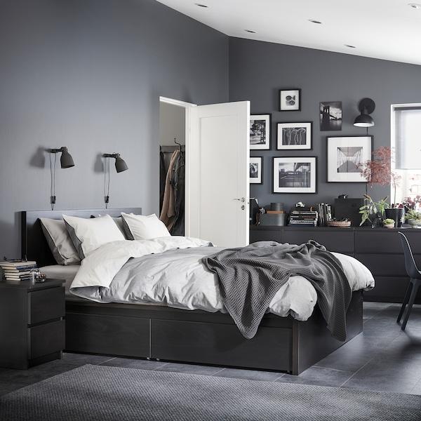MALM Bed frame, high, w 4 storage boxes, black-brown/Luröy, 150x200 cm