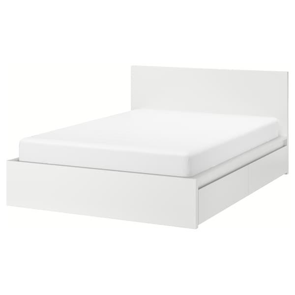 MALM Bed frame, high, w 4 storage boxes, white/Luröy, 180x200 cm
