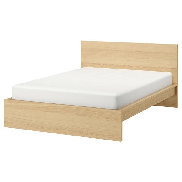 MALM Bed frame, high, white stained oak veneer/Luröy, 150x200 cm