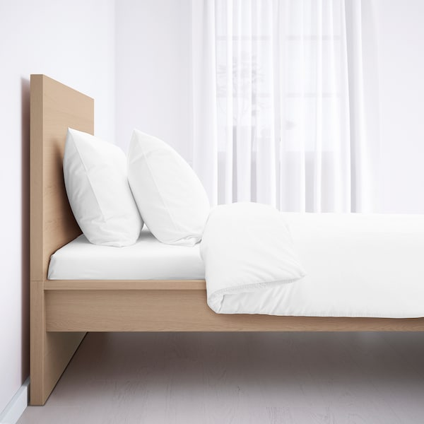 MALM bed frame, high white stained oak veneer/Lönset 209 cm 105 cm 38 cm 100 cm 200 cm 90 cm