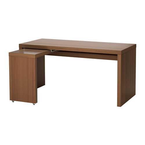 Malm Desk With Pull Out Panel Brown Stained Ash Veneer