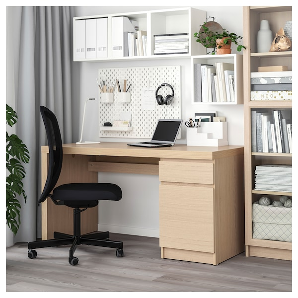 MALM desk white stained oak veneer 140 cm 65 cm 73 cm 50 kg