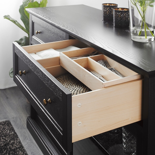 MALSJÖ sideboard basic unit black stained 145 cm 48 cm 92 cm