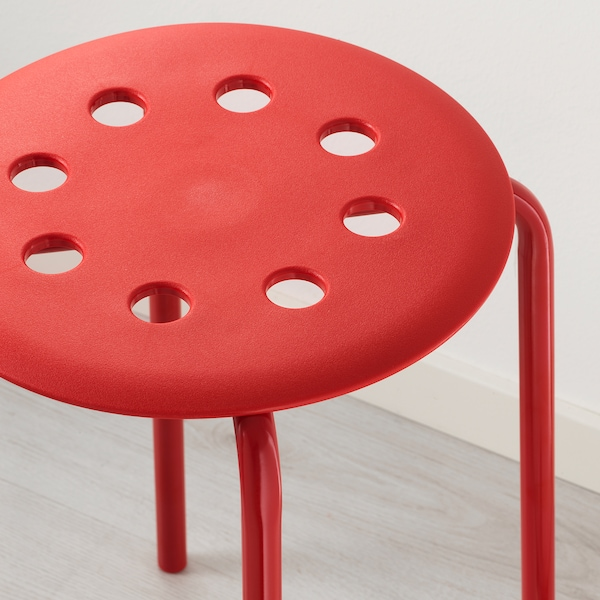 MARIUS Stool, red, 45 cm