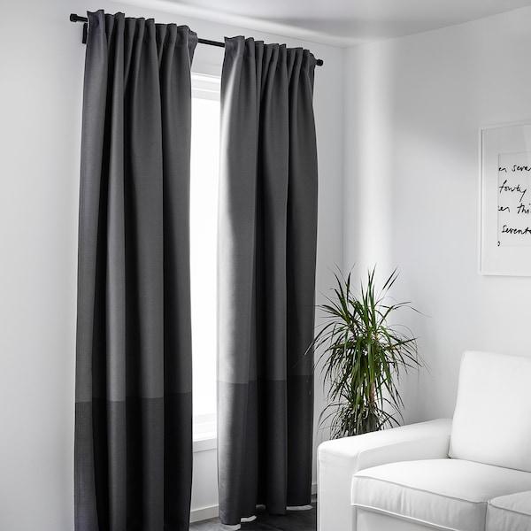 MARJUN Block-out curtains, 1 pair, grey, 145x250 cm