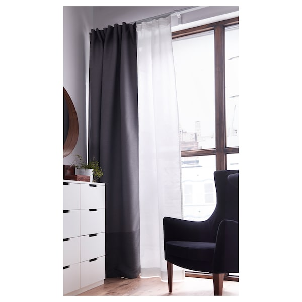 MARJUN block-out curtains, 1 pair grey 250 cm 145 cm 2.77 kg 3.63 m² 2 pack