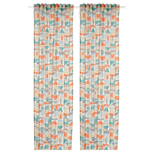 MARTORN curtains, 1 pair multicolour 250 cm 145 cm 1.50 kg 3.63 m² 2 pack