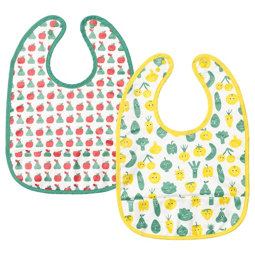 MATVRÅ bib fruit/vegetables pattern/green yellow 2 pack