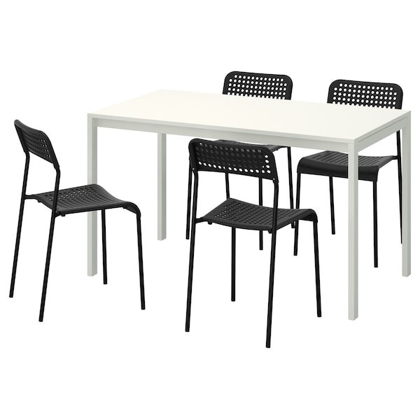 MELLTORP / ADDE Table and 4 chairs, white/black, 125x75 cm