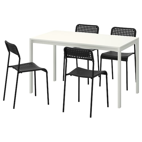 MELLTORP / ADDE table and 4 chairs white/black 125 cm 75 cm 74 cm