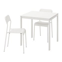MELLTORP /  ADDE table and 2 chairs, white, white