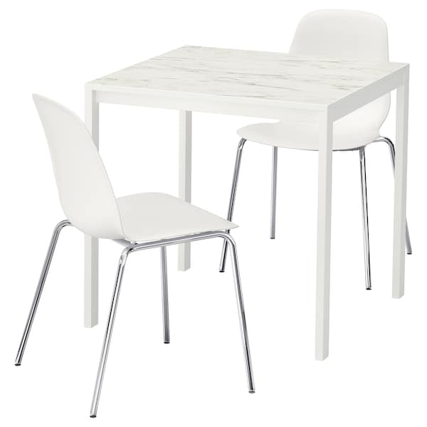 MELLTORP / LEIFARNE table and 2 chairs white marble effect/chrome-plated 75 cm 75 cm