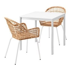 MELLTORP /  NILSOVE table and 2 chairs, white, rattan white
