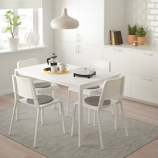 MELLTORP / TEODORES table and 4 chairs white/white 125 cm 75 cm 74 cm