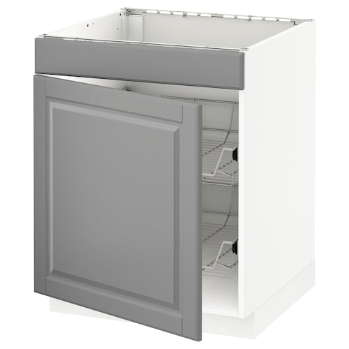 METOD base cab f hob/drawer/2 wire bskts white/Bodbyn grey 60 cm 61.9 cm 60 cm 70 cm
