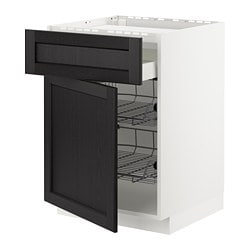 METOD base cab f hob/drawer/2 wire bskts, white Maximera, Lerhyttan black stained