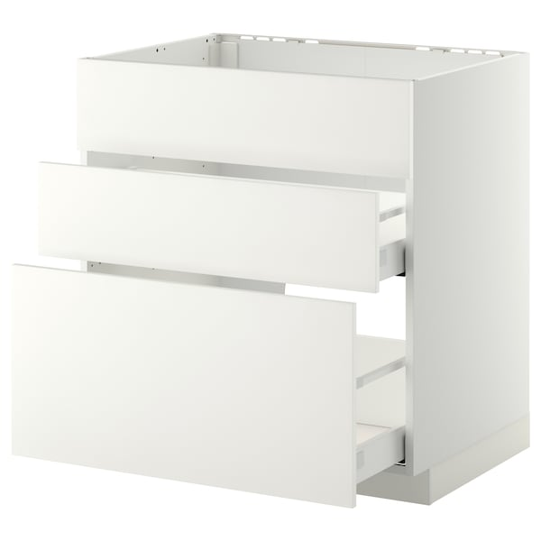 METOD Base cab f sink+3 fronts/2 drawers, white Maximera/Häggeby white, 80x60x80 cm