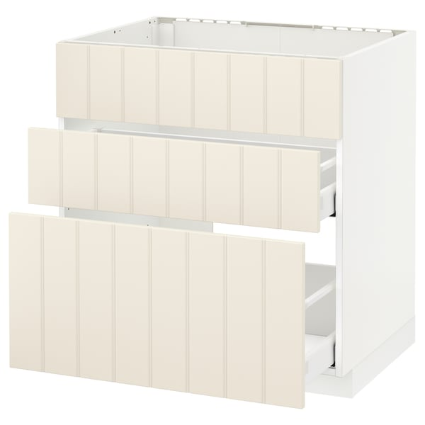 METOD Base cab f sink+3 fronts/2 drawers, white Maximera/Hittarp off-white, 80x60x80 cm