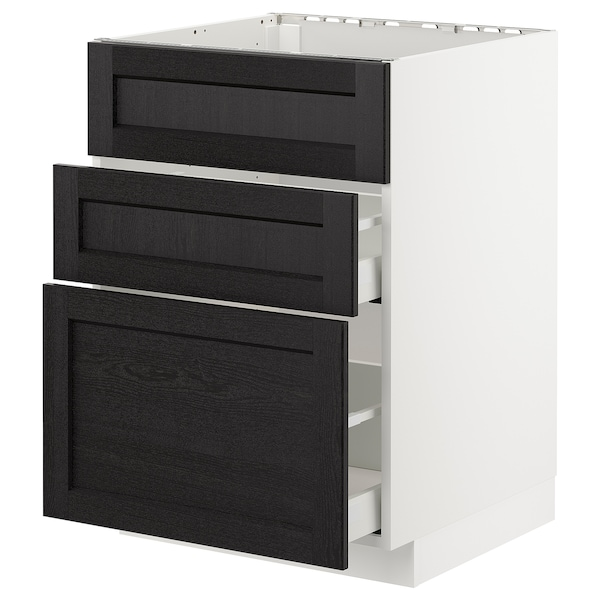 METOD Base cab f sink+3 fronts/2 drawers, white Maximera/Lerhyttan black stained, 60x60x80 cm