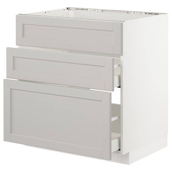 METOD Base cab f sink+3 fronts/2 drawers, white Maximera/Lerhyttan light grey, 80x60x80 cm