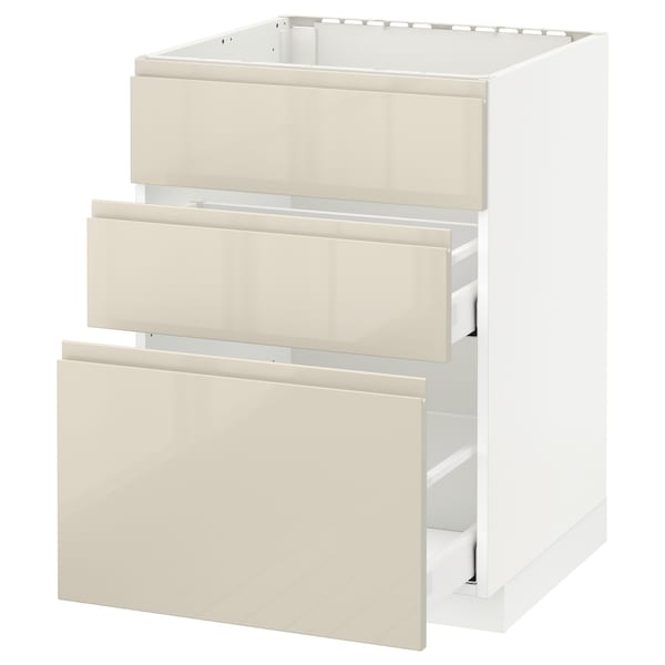 METOD Base cab f sink+3 fronts/2 drawers, white Maximera/Voxtorp high-gloss light beige, 60x60x80 cm