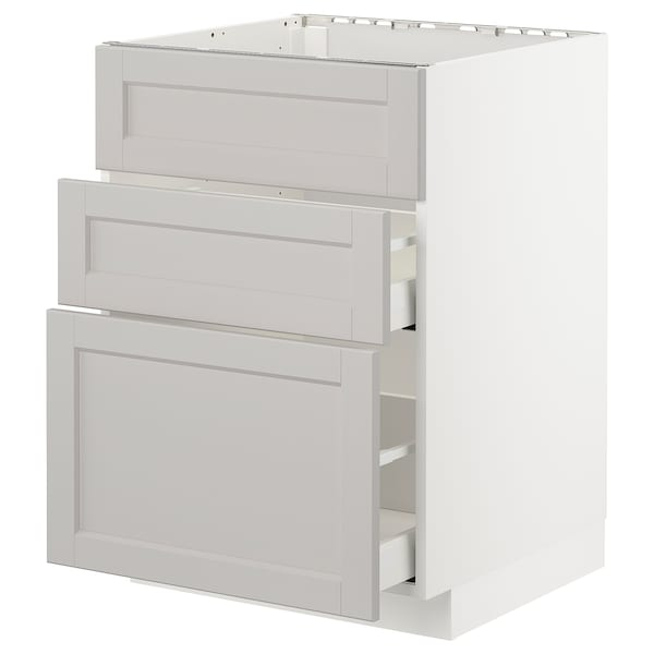 METOD base cab f sink+3 fronts/2 drawers white Maximera/Lerhyttan light grey 60.0 cm 61.9 cm 60.0 cm 80.0 cm