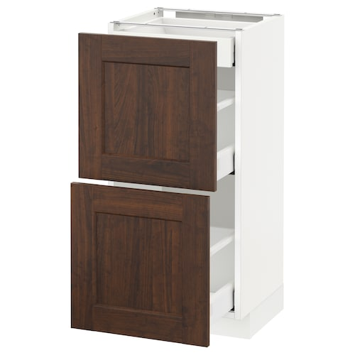 METOD base cab with 2 fronts/3 drawers white Maximera/Edserum brown 40.0 cm 37 cm 38.8 cm 80.0 cm