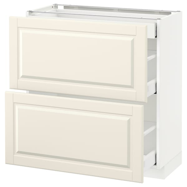 METOD base cab with 2 fronts/3 drawers white Maximera/Bodbyn off-white 80.0 cm 37 cm 38.9 cm 80.0 cm