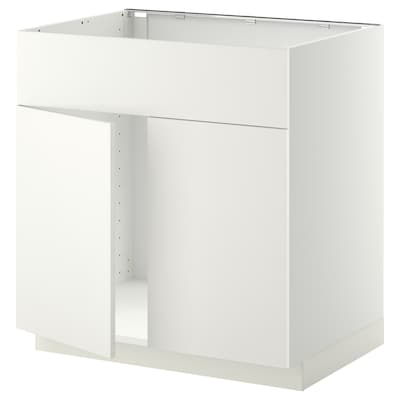 METOD Base cabinet f sink w 2 doors/front, white/Häggeby white, 80x60x80 cm