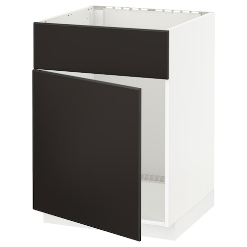 METOD Base cabinet f sink w door/front, white/Kungsbacka anthracite, 60x60x80 cm