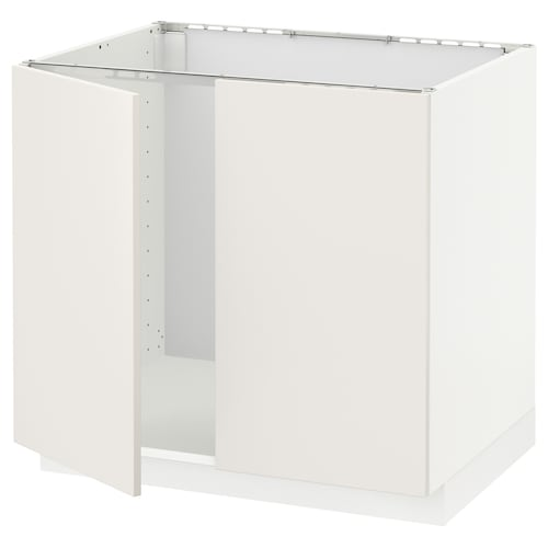 METOD base cabinet for sink + 2 doors white/Veddinge white 80 cm 61.6 cm 60 cm 70 cm