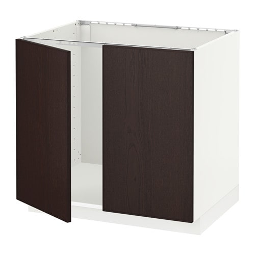 Metod Base Cabinet For Sink 2 Doors White Ekestad Brown Ikea