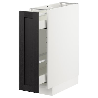 METOD Base cabinet/pull-out int fittings, white/Lerhyttan black stained, 20x60x70 cm