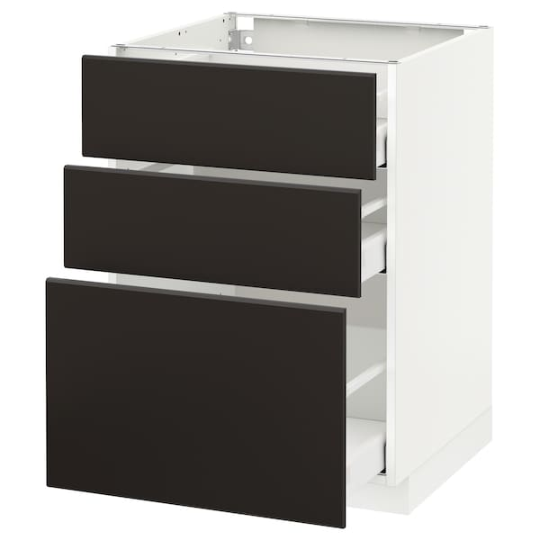 METOD base cabinet with 3 drawers white Maximera/Kungsbacka anthracite 60.0 cm 60 cm 61.8 cm 80.0 cm