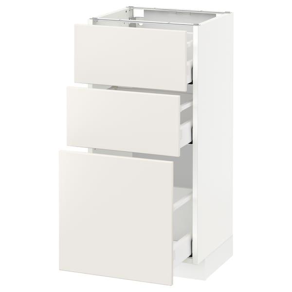 METOD Base cabinet with 3 drawers, white Maximera/Veddinge white, 40x37x80 cm
