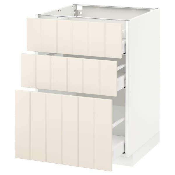METOD base cabinet with 3 drawers white Maximera/Hittarp off-white 60.0 cm 60 cm 61.8 cm 80.0 cm
