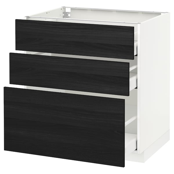 METOD base cabinet with 3 drawers white Maximera/Tingsryd black 80.0 cm 60 cm 61.6 cm 80.0 cm