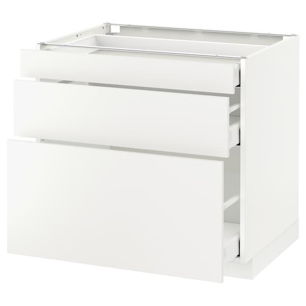 METOD base cabinet with 3 drawers white Maximera/Häggeby white 80 cm 60 cm 61.6 cm 70 cm