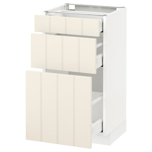 METOD base cabinet with 3 drawers white Maximera/Hittarp off-white 40 cm 37 cm 38.8 cm 70 cm