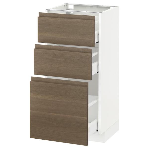 METOD base cabinet with 3 drawers white Maximera/Voxtorp walnut 40.0 cm 39.1 cm 88.0 cm 37.0 cm 80.0 cm