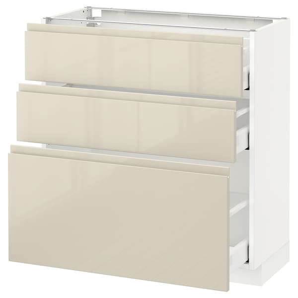 METOD base cabinet with 3 drawers white Maximera/Voxtorp high-gloss light beige 80.0 cm 39.1 cm 88.0 cm 37.0 cm 80.0 cm