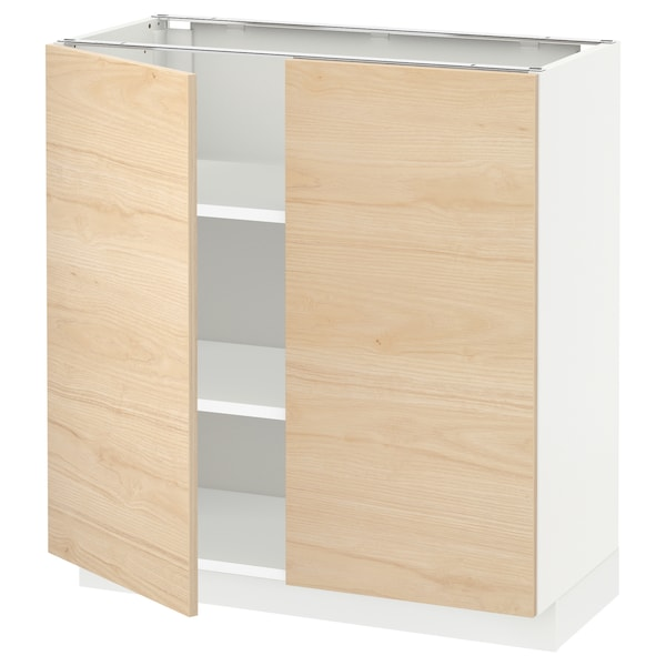 METOD Base cabinet with shelves/2 doors, white/Askersund light ash effect, 80x37x80 cm