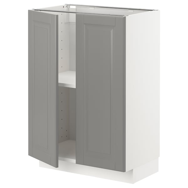 METOD Base cabinet with shelves/2 doors, white/Bodbyn grey, 60x37x80 cm