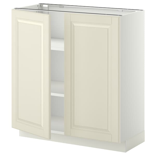 METOD Base cabinet with shelves/2 doors, white/Bodbyn off-white, 80x37x80 cm